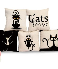 Stunning Black And White Cat Animal Print Square Cushion Cover