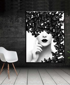 Delicate Black And White Word Quote / Woman With Butterflies Frameless Poster