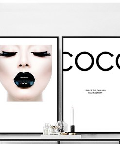 Lavish Black Glossy Lips And Coco Fashion Statement Frameless Poster