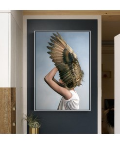 Vivacious Women With Birds Feather Headdress Frameless Art Poster