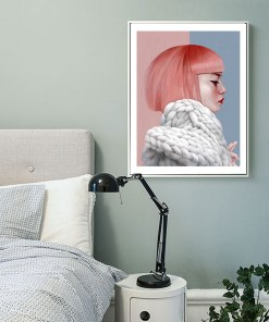 Prim Women Portrait In Pastel Colors Frameless Art Poster