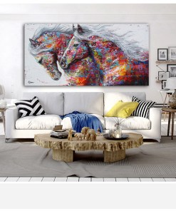 Magnificent Running Horse Frameless Colorful Poster
