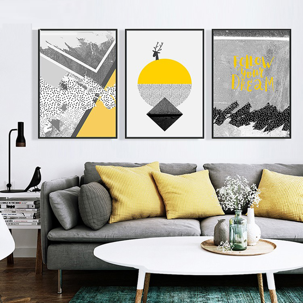 Energetic Touch Of Yellow Geometric Frameless Art Poster - Number 25 ...