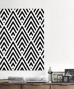 Stark Black And White Art Deco Pattern Frameless Poster