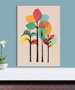 Jaunty Colourful Trees Vintage Style Frameless Poster