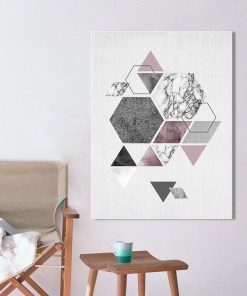 Super Fine Marble Geometric Frameless Canvas Poster