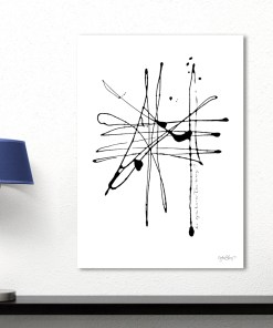 Notable Black And White Splat Painting Frameless Abstract Poster