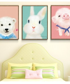 Zestful Kiddie Animal Colourful Paintings Frameless Wall Poster