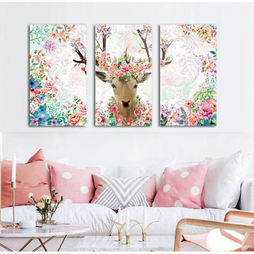 Bubbly Deer With Flowers Triptych Frameless Artwork Poster