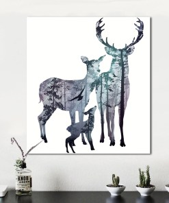 Melancholy Deer Silhouette And Forest Frameless Art Poster