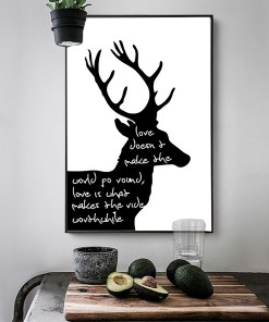 Distinct Deer And Word Quote Two-Tone Frameless Poster