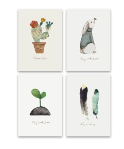 Comical Plants And Animal Caricatures Frameless Poster