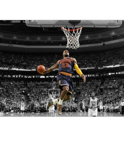 Sporty Basketball Star Lebron James Frameless Photo Poster