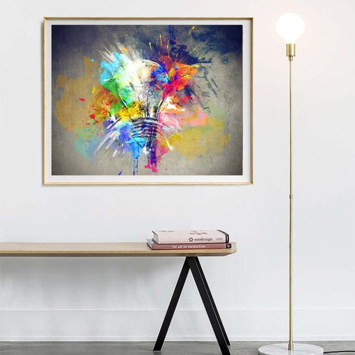 Energizing Colourful Bulb Abstract Oil Acrylic Painting Frameless Poster