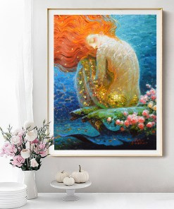 Transcendental Red Hair Mermaid Oil Painting Frameless Wall Poster