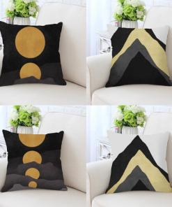 Paramount Black And Gold Alps, Peaks, And Sunset Linen Pillow Covers