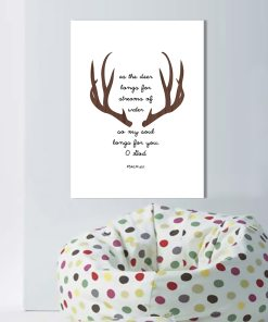 Tranquil Deer & Psalm Monochrome Wall Art Poster