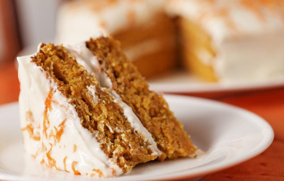 Homemade sweet potato cake dessert on white plate.