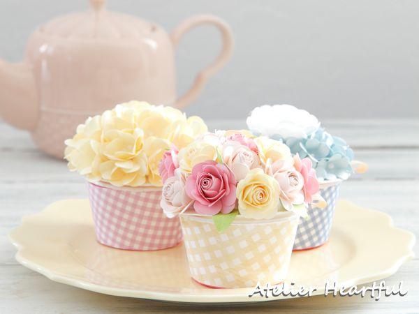 Atelier Heartful ペーパーフラワーのカップケーキ