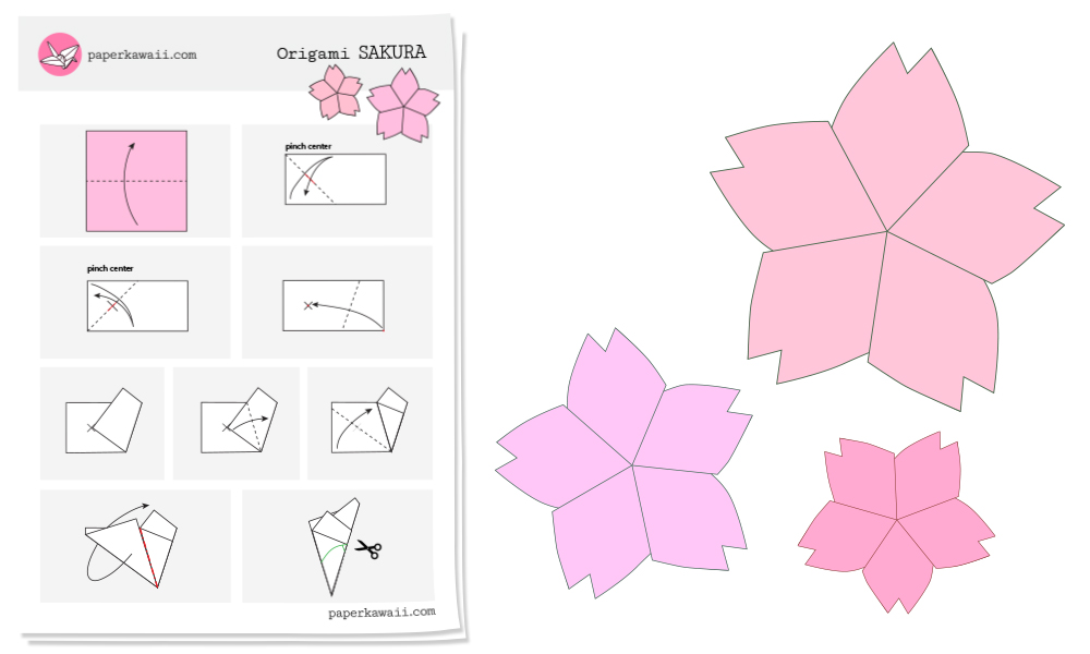 Origami Sakura Cherry Blossom Diagram  Paper Kawaii Shop