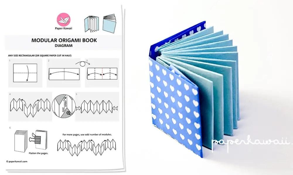 origami mini book diagram paper kawaii shop