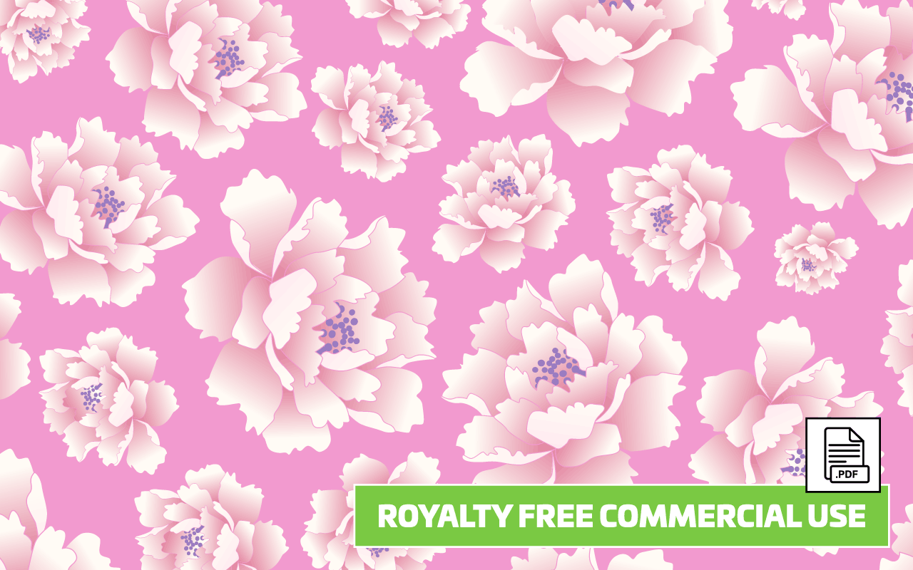 Peony Flower Seamless Vector Pattern