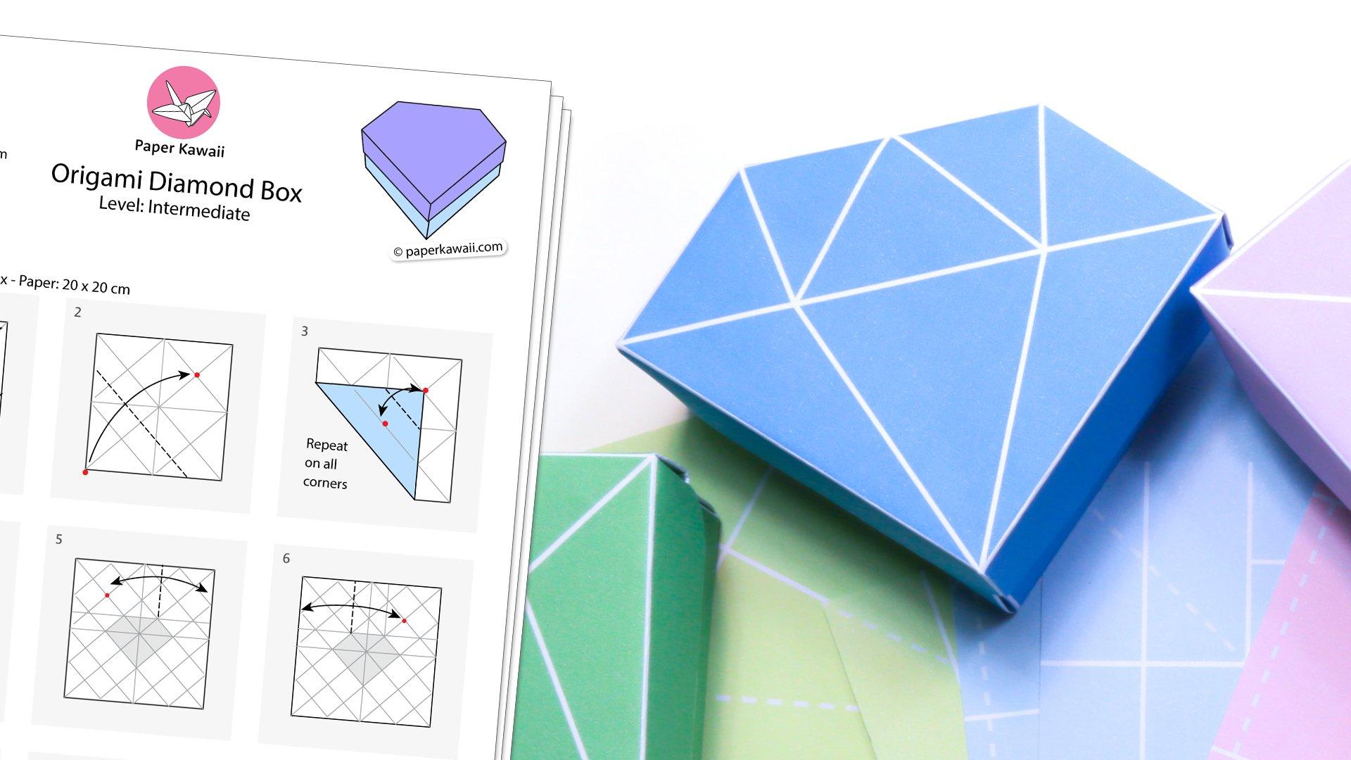 Origami Diamond Box Diagram & Printable Templates - Paper ... - photo#18