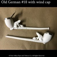 Old German Clay Pipe #18 with antique metal wind cap