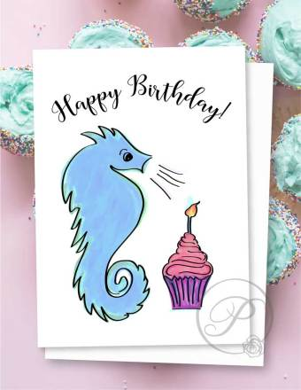 SEA HORSE BIRTHDAY GREETING CARD LAYOUT