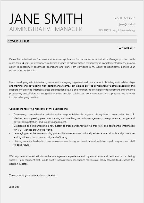 Admin Manager Cover Letter Professional Cv Zone Templates