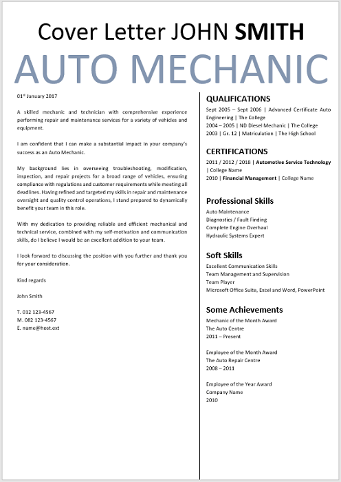 Auto Mechanic Cover Letter - Professional CV Zone | Templates
