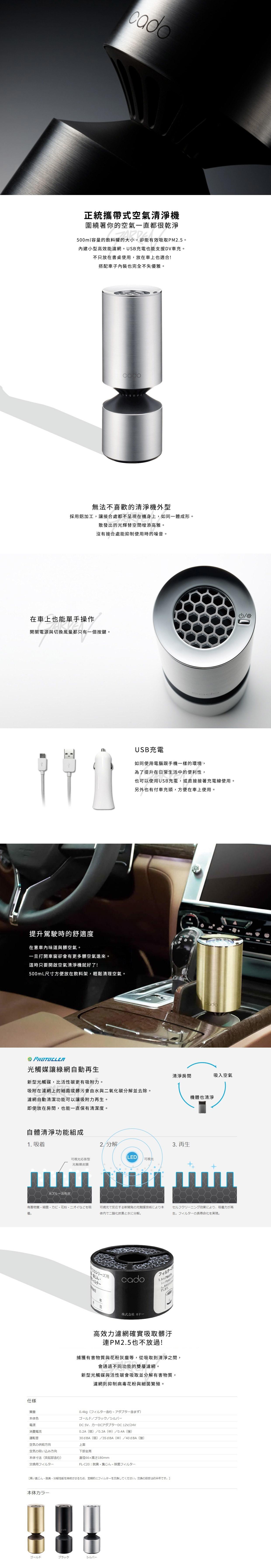 【推薦實用居家用品特價】嘉頓國際 CADO【MP-C20U】空氣清淨機 車用 光觸煤 USB 車充 HEPA PM2.5 IG-HC15