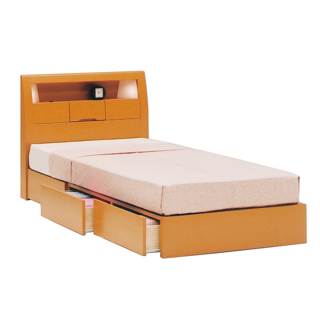 Semi Double Bed Frame Simple 120 Cm Width Wide Drawers Natural 05p1ec14