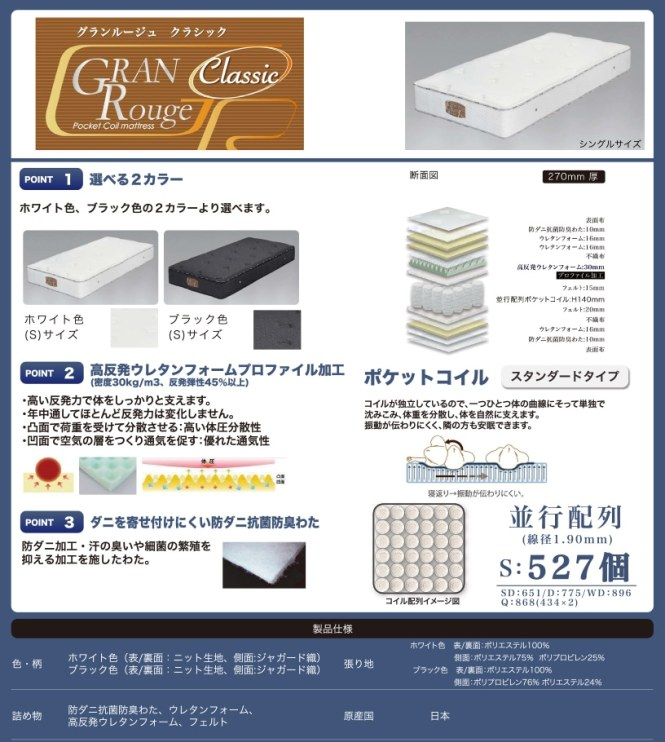 Domestic Stan Dirt Course High Repulsion Grand Rouge Classic Single Size Recommendation Deodorization Mattress