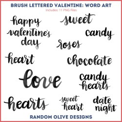 Brush Lettered Valentine - shop.randomolive.com