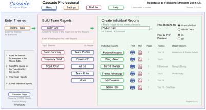 Cascade Strengths Menu Dashboard new features