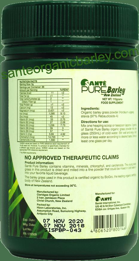 Sante Pure Barley Canister 110 Grams Sante Organic