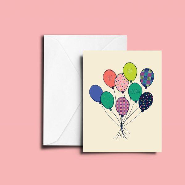 Hip Hip Hooray Balloon Greeting Card