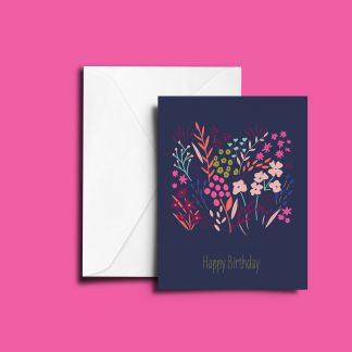 Flowers Happy Birthday Card