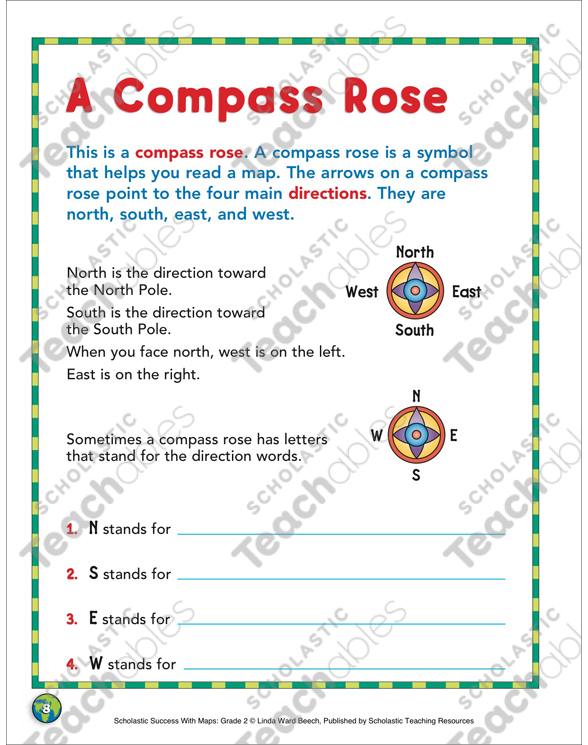 A Compass Rose Grade 2 Map Skills By