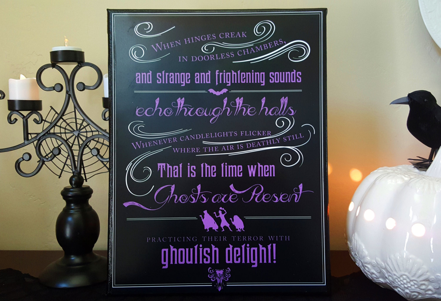 Haunted Mansion Ghosts Are Present Poster in Black, Purple and White  Instant Download