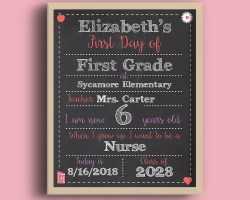 smart pink editable first and last day of school chalkboard signs