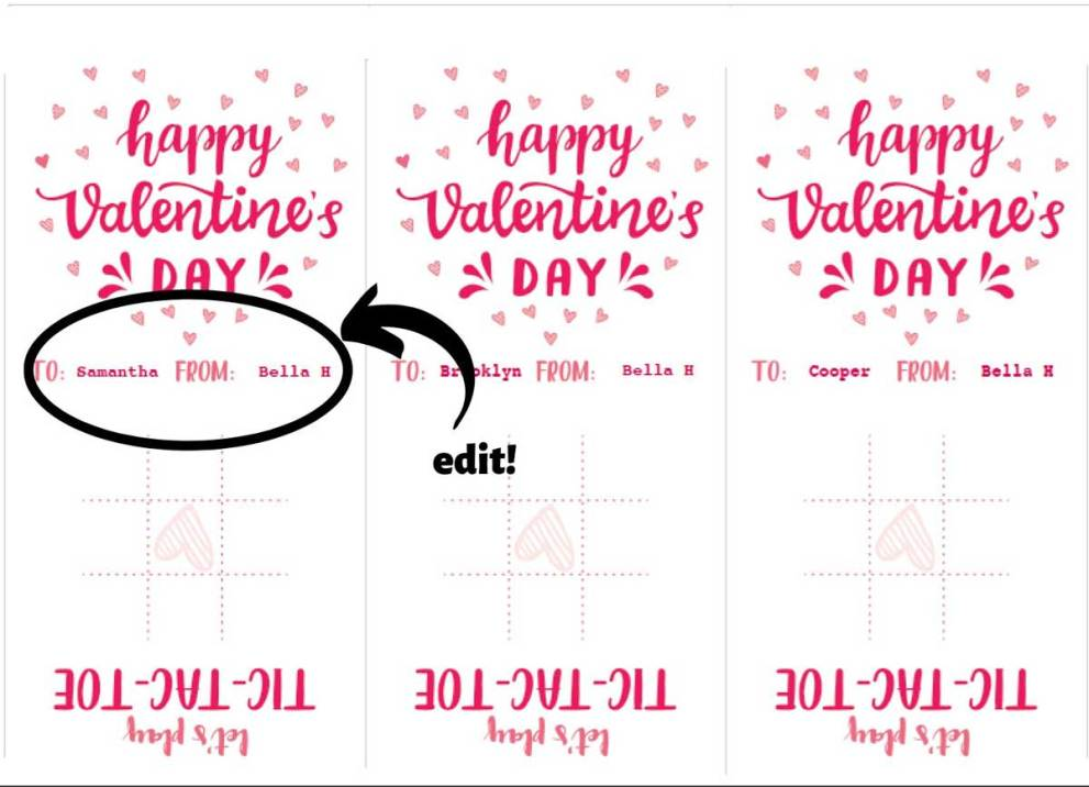 personalized tic tac toe valentine