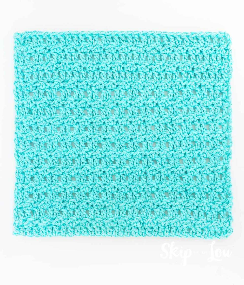 light teal crochet dishcloth