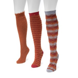 Women's 3 Pair Pack Fuzzy Yarn Knee High Socks