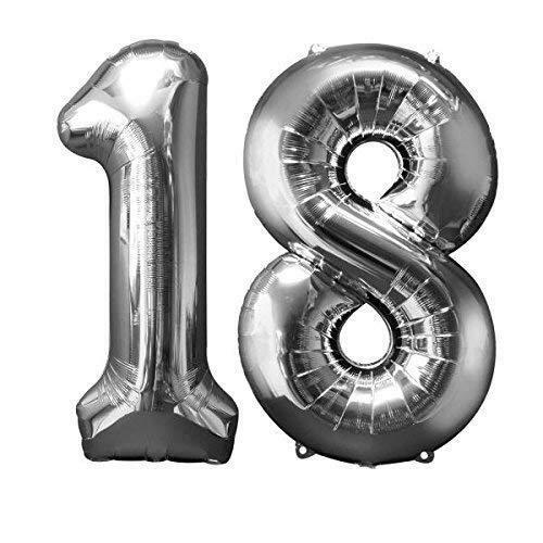 SuperShape Zahl Bunch 18 Silber Folienballon P75 verpackt 86cm   Amscan
