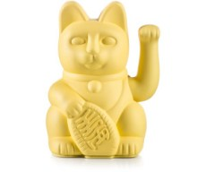 Lucky Cat / Yellow, waving cat, ca,15x10,5cm, plastic, without battery | Donkey Products