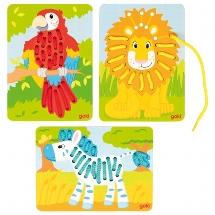 Fädelspiel Papagei, Löwe, Zebra | Gollnest