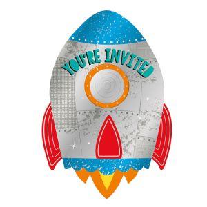 8 Einladungskarten Rakete mit Umschlägen | Amscan