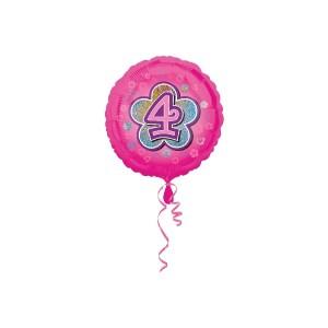 Standard Rosa Blumen 4 Folienballon S40 verpackt 43 cm | Amscan